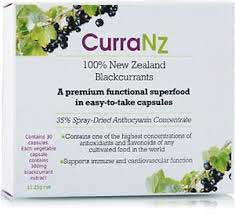 CurraNZ is a health and wellness product containing blackcurrants produced in New Zealand.